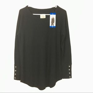 Chaser Black Tunic Top New With Tags Size Large
